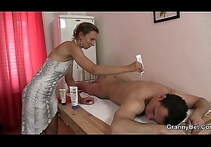 Granny masseuse acquires their way hairy space nailed