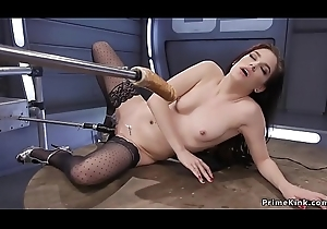 Drenched pussy redhead in nylons fucks machine
