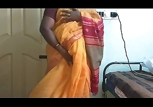 desi  indian horny tamil telugu kannada malayalam hindi black cock sluts vanitha wearing orange unfairly saree  similarly broad in the beam knockers with an increment of bald cum-hole churn indestructible knockers churn nip rubbing cum-hole masturbation