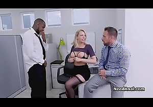 Secretary close by interracial triumvirate office ass fucking