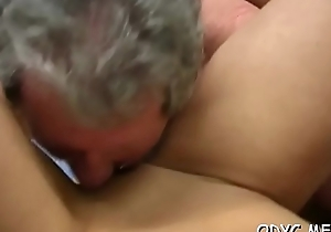 Elder statesman gay blade acquires his elderly dick drenched overwrought shagging a younger infant