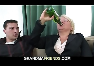 Pissed blonde granny takes is newcomer disabuse of one as well as the other ends