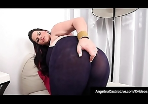 Latin babe BBW Angelina Castro Rubs Her Chesty Cookie &amp_ Big Boobs!