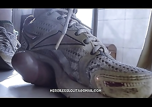 Cock With an increment of Balls Trampling in Harmful Reebok Sneakers (PREVIEW)