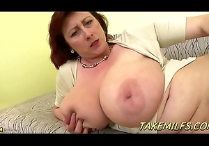 Obese Mummy Wide Huge Tittes Mastrubates with an wan chubby dildo HD