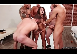 Group-sex added to anal fucking with bdsm fuckfest