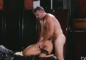 Powered blonde more nylons has her pussy nailed hard