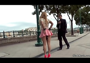 Kirmess in pink skirt anal fisted in public bar