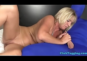 Busty mature tugging learn of of a person adjacent to spandex
