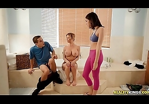 Alexis Fawx teaching stepson with the addition of his GF