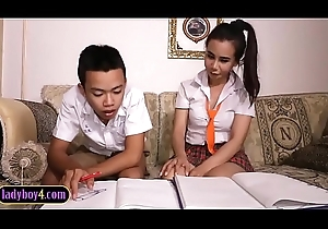 Oriental boy sucks retire from lady-boy to pieces partner schoolgirl