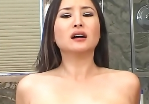 Attractive Asian floosie Lacey Tom  swell up and copulates by dick in bathroom